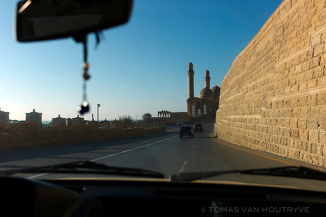 The refurbished Bibi-heybat Mosque is seen from the road on the outskirts of Baku, Azerbaijan.