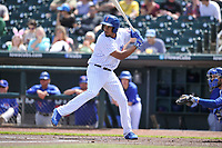 Iowa Cubs first baseman Jeimer Candelario (35) waits for pitch during a game against the Round Rock Express at Principal Park on April 16, 2017 in Des  Moines, Iowa.  The Cubs won 6-3.  (Dennis Hubbard/Four Seam Images)