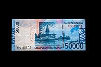 Yogyakarta, Java, Indonesia.  50,000 Rupiah Banknote, Back Side.  Pura (Temple) Ulun Danu Bratan, Bali.