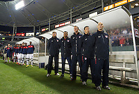 Carson, Ca-January 22, 2010: Bob Bradley and the coaching staff of the USA men's national team during a 1-1 tie with Chile at the Home Depot Center in Carson, California.