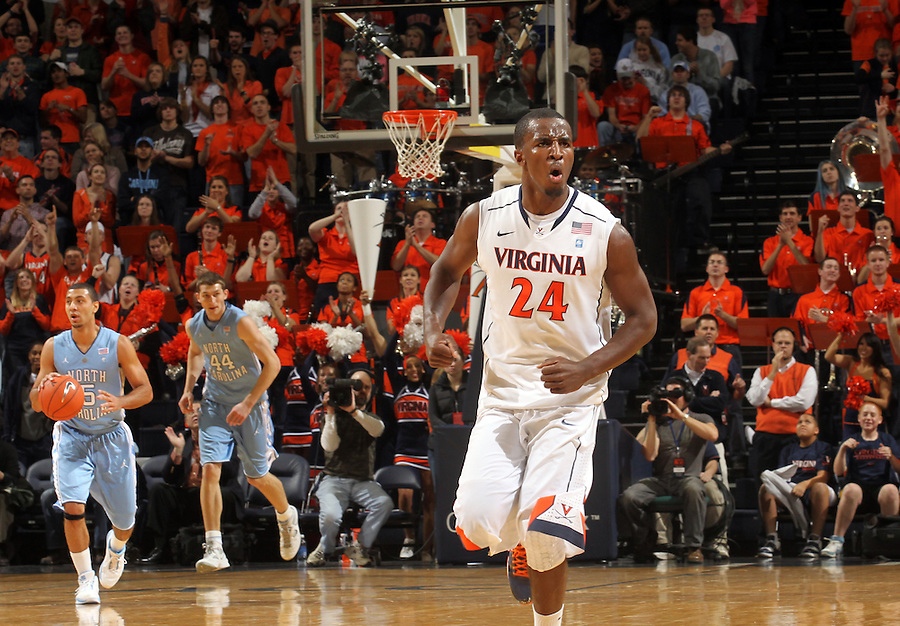 Jan. 8, 2011; Charlottesville, VA, USA;  Virginia Cavaliers guard K.T. Harrell (24) reacts to a play during the game against the North Carolina Tar Heels at the John Paul Jones Arena. Mandatory Credit: Andrew Shurtleff