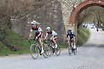 The breakaway Alexandre Geniez (FRA) AG2R La Mondiale and teammate Nico Denz (GER), Diego Rosa (ITA) Team Sky and Leo Vincent (FRA) Groupama-FDJ on sector 5 Lucignano d'Asso during Strade Bianche 2019 running 184km from Siena to Siena, held over the white gravel roads of Tuscany, Italy. 9th March 2019.<br /> Picture: Seamus Yore   Cyclefile<br /> <br /> <br /> All photos usage must carry mandatory copyright credit (© Cyclefile   Seamus Yore)