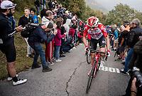 Carl Fredrik Hagen (NOR/Lotto-Soudal) up the infamous (and crowded) Muro di Sormano (avg 17%/max 25%)<br /> <br /> 113th Il Lombardia 2019 (1.UWT)<br /> 1 day race from Bergamo to Como (ITA/243km)<br /> <br /> ©kramon