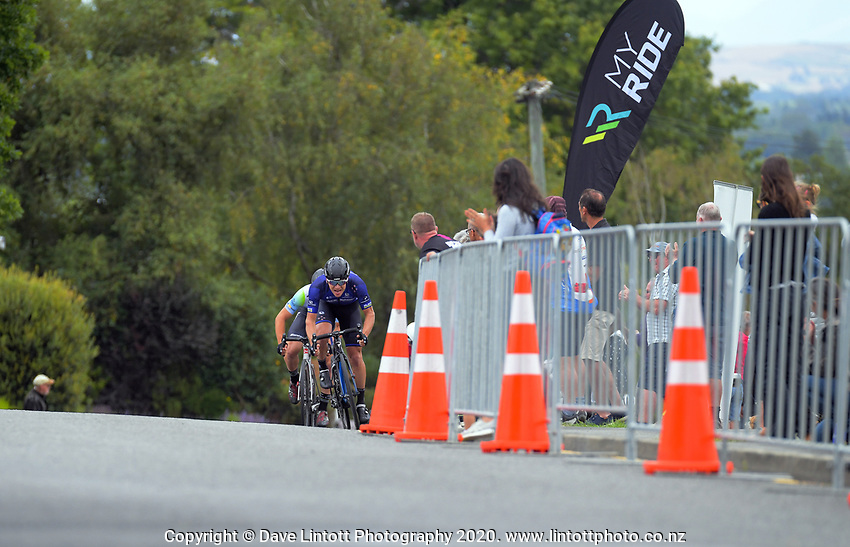 Aaron Gate of New Zealand/Black Spoke Pro Cycling Academy rides the final corner to the finish. Day one of the NZ Cycle Classic UCI Oceania Tour in Wairarapa, New Zealand on Wednesday, 15 January 2020. Photo: Dave Lintott / lintottphoto.co.nz