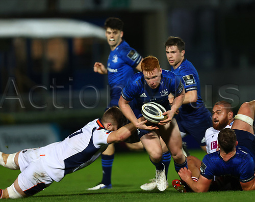 16th November 2020; RDS Arena, Dublin, Leinster, Ireland; Guinness Pro 14 Rugby, Leinster versus Edinburgh; Ciaran Frawley (Leinster) attempts to break through at the side of a ruck