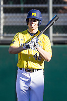 Michigan Wolverines outfielder Zach Zott (48) prepares to take his turn at bat during the NCAA season opening baseball game against the Texas State Bobcats on February 14, 2014 at Bobcat Ballpark in San Marcos, Texas. Texas State defeated Michigan 8-7 in 10 innings. (Andrew Woolley/Four Seam Images)