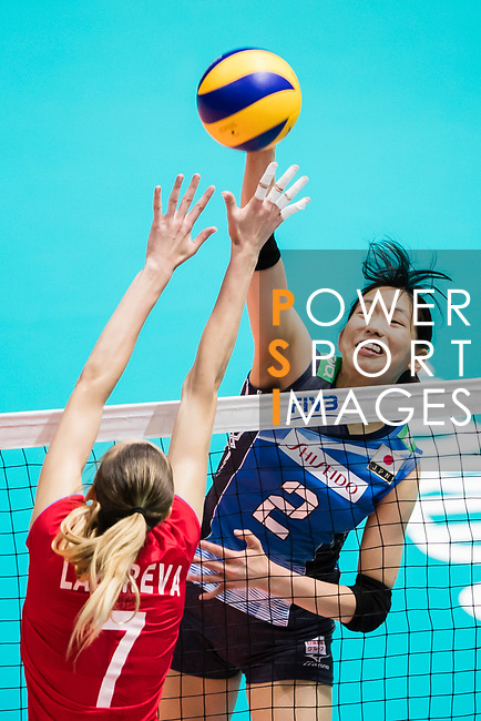 Wing spiker Sarina Koga (R) of Japan spikes the ball during the FIVB Volleyball World Grand Prix - Hong Kong 2017 match between Japan and Russia on 23 July 2017, in Hong Kong, China. Photo by Yu Chun Christopher Wong / Power Sport Images