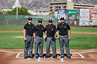 The officiating crew of home plate umpire Phil Bando, 1B Edgar Huerta-Morales, 2B Tom Fornarola and 3B Taylor Payne for Game 1 of the South Division Championship Series between the Orem Owlz and the Ogden Raptors at Lindquist Field on September 10, 2017 in Ogden, Utah. Ogden defeated Orem 9-4. (Stephen Smith/Four Seam Images)