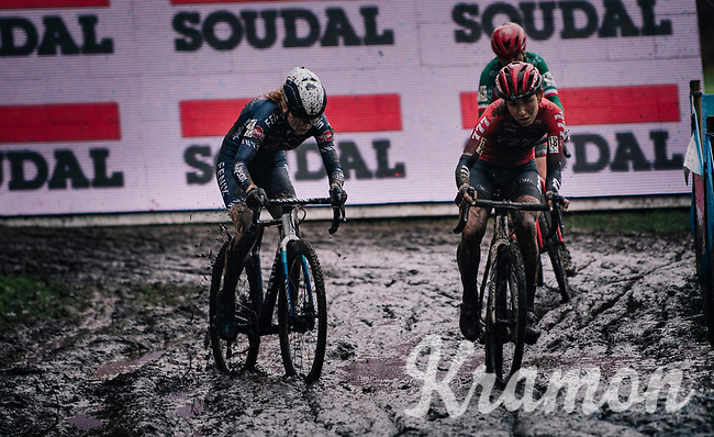 Alice Maria Arzuffi (ITA/777) & Puck Pieterse (NED/Alpecin-Fenix) plowing through the mud<br /> <br /> Women's race at the X2O Herentals Cross 2020 (BEL)<br /> <br /> ©kramon