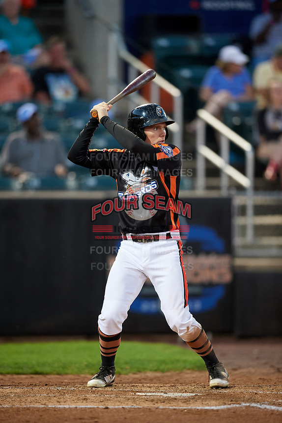 Aberdeen IronBirds designated hitter Willy Yahn (6) at bat during a game against the Staten Island Yankees on August 23, 2018 at Leidos Field at Ripken Stadium in Aberdeen, Maryland.  Aberdeen defeated Staten Island 6-2.  (Mike Janes/Four Seam Images)