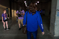 CHARLOTTE, NC - OCTOBER 3: Rose Lavelle #16 of the United States enters the stadium during a game between Korea Republic and USWNT at Bank of America Stadium on October 3, 2019 in Charlotte, North Carolina.