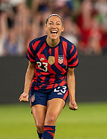 AUSTIN, TX - JUNE 16: Christen Press #23 of the USWNT celebrates her goal during a game between Nigeria and USWNT at Q2 Stadium on June 16, 2021 in Austin, Texas.