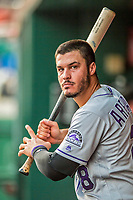 29 July 2017: Colorado Rockies infielder Nolan Arenado holds his bat in the dugout during a game against the Washington Nationals at Nationals Park in Washington, DC. The Rockies defeated the Nationals 4-2 in the first game of their 3-game weekend series. Mandatory Credit: Ed Wolfstein Photo *** RAW (NEF) Image File Available ***