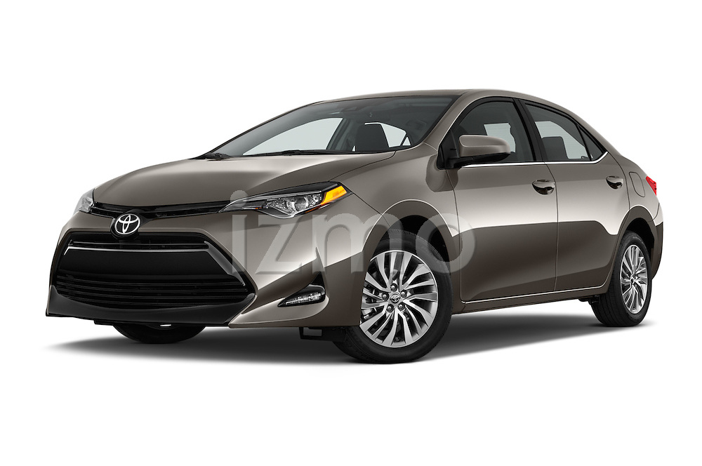 Stock pictures of low aggressive front three quarter view of 2018 Toyota Corolla LE-Eco-AT 4 Door Sedan Low Aggressive