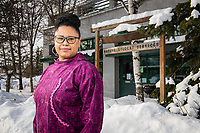 Human Services Senior Paula Jones photographed outside UAA's Native Student Services in Rasmuson Hall, where she currently works.