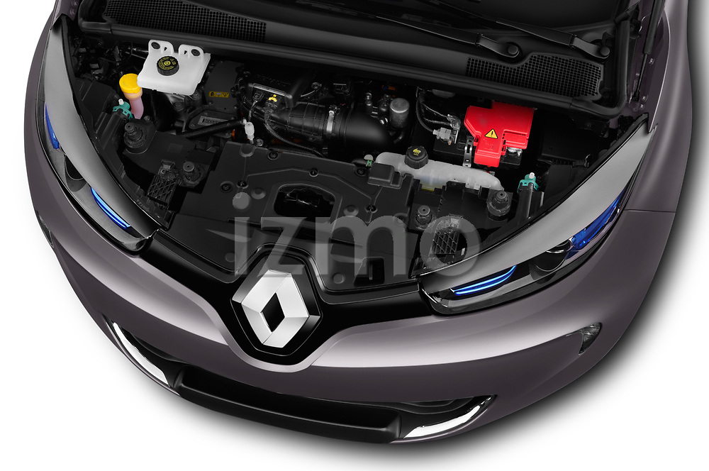 Car stock 2017 Renault ZOE Bose Edition 5 Door Hatchback engine high angle detail view