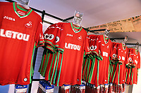 Pictured: Away shirts on display. Saturday 01 July 2017<br /> Re: The new 2017-2018 season, Swansea City FC kit has officially gone on sale at the club's Liberty Stadium shop, Wales, UK