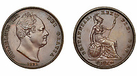 BNPS.co.uk (01202) 558833<br /> Pic: DNW/BNPS<br /> <br /> Pictured: This William IV coin sold for £1,860.<br /> <br /> A remarkable single-owner collection of over 200 historic British coins spanning eight monarchs has sold for a staggering £353,000.<br /> <br /> Ian Sawden amassed an array of coinage from the Georgian, Victorian and Edwardian periods, with the latest examples struck during George VI's reign.<br /> <br /> A 1797 Cartwheel proof gold penny from George III's reign, decorated with a laureate bust wearing a wreath with 10 leaves, fetched £24,800.<br /> <br /> A 1788 gold halfpenny depicting Britannia seated with a spear achieved £27,280, while a 1799 gold halfpenny went for £23,560 and a 1848 Proof Florin coin from Victoria's reign sold for £16,120.