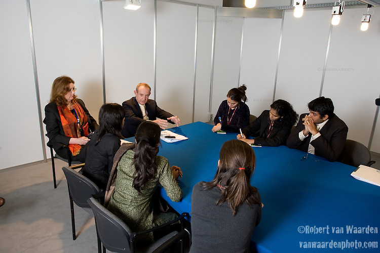 The Indian Youth Delegation meet with Executive Secretary Yvo De Boer to discuss the youth movement and specifically young India'a concerns. UNFCCC COP 14 (©Robert vanWaarden ALL RIGHTS RESERVED)