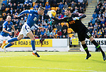 St Johnstone v Kilmarnock…31.08.19   McDiarmid Park   SPFL<br />Michael O'Halloran's goal is ruled offside as his header beats Laurentiu Branescu<br />Picture by Graeme Hart.<br />Copyright Perthshire Picture Agency<br />Tel: 01738 623350  Mobile: 07990 594431