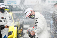 23rd August 2020, Lausitz Circuit, Klettwitz, Brandenburg, Germany. The Deutsche Tourenwagen Masters (DTM) race at Lausitz;  Lucas Auer AUT, Team RMG, BMW M4 DTM celebrates with champagne