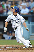 Asheville Tourists left fielder Chandler Laurent #6 swings at a pitch during a game against the Rome Braves at McCormick Field on June 23, 2012 in Asheville, North Carolina.  The Braves defeated the Tourists 4-2. (Tony Farlow/Four Seam Images).