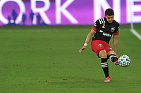 WASHINGTON, DC - SEPTEMBER 12: Joseph Mora #28 of D.C. United passes off the ball during a game between New York Red Bulls and D.C. United at Audi Field on September 12, 2020 in Washington, DC.