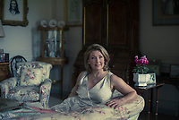 The Countess of Carnarvon in the drawing room at Highclere