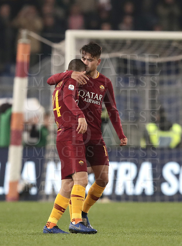 Football, Serie A: AS Roma - InterMilan, Olympic stadium, Rome, December 02, 2018. <br /> Roma's Cengiz Under (r) celebrates after scoring with his teammates Alessandro Florenzi (l) and Nicolò Zaniolo (r) during the Italian Serie A football match between Roma and Inter at Rome's Olympic stadium, on December 02, 2018.<br /> UPDATE IMAGES PRESS/Isabella Bonotto