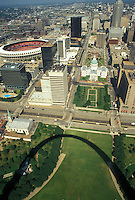 aerial, St. Louis, MO, Missouri, Aerial view of the downtown Saint Louis from the Gateway Arch. Shadow of the Gateway Arch.