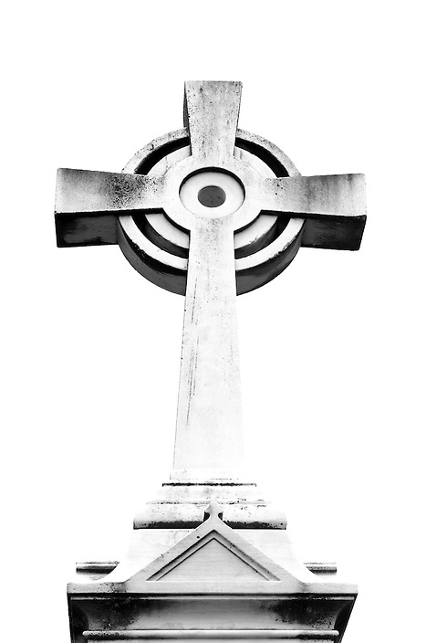 A B+W conversion of a cemetery headstone carved in the shape of a cross. This image is part of a continuing series featuring amazing headstones from cemeteries all over New England.