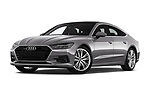 Stock pictures of low aggressive front three quarter view of a 2018 Audi A7 Sportback S Line 5 Door Hatchback