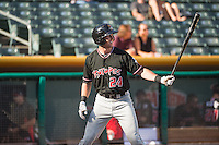 Drew Stubbs (24) of the Albuquerque Isotopes at bat against the Salt Lake Bees in Pacific Coast League action at Smith's Ballpark on June 8, 2015 in Salt Lake City, Utah.  (Stephen Smith/Four Seam Images)