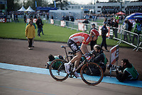 Marcel Sieberg (DEU/Lotto-Soudal) powering his way to a 7th place in the Roubaix velodrome<br /> <br /> 114th Paris-Roubaix 2016