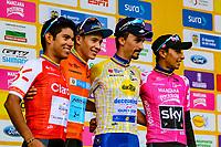 MEDELLIN - COLOMBIA, 17-02-2019:Miguel Angel López celebra levantando el trofeo en forma de Poporo al  quedar campeón del Tour Colombia 2.1 2019 durante la sexta etapa del Tour Colombia 2.1 2019 con un recorrido de 173.8 Km, que se corrió con salida en El Retiro  y llegada en Las Palmas, Antioquia. / Miguel Angel López celebrates raising the trophy in the form of Poporo to be champion of the Tour Colombia 2.1 2019 during the sixth stage of 173.8 km of Tour Colombia 2.1 2019 that ran in El Retiro with start and arrival in Las Palmas, Antioquia.  Photo: VizzorImage / Anderson Bonilla / Cont