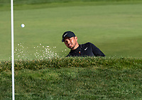 9th February 2020, Pebble Beach, Carmel, California, USA; Jason Day blasts out of the bunker in front of the 18th green during the championship round of the AT&T Pro-Am on Sunday