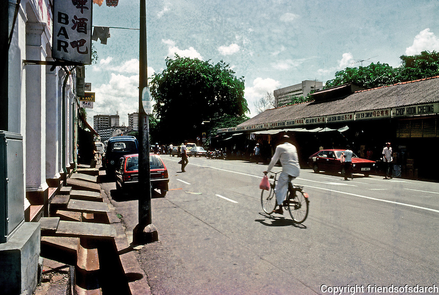 Singapore: Arab Street--a transitional street of small shops--all selling luggage. Photo '83.