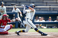 Michigan Wolverines shortstop Benjamin Sems (2) follows through on his swing against the Maryland Terrapins on May 23, 2021 in NCAA baseball action at Ray Fisher Stadium in Ann Arbor, Michigan. Maryland beat the Wolverines 7-3. (Andrew Woolley/Four Seam Images)