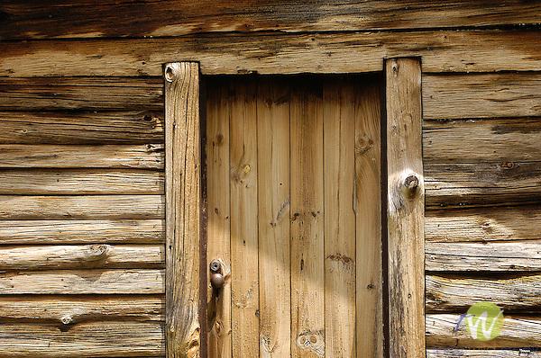 French Azilum Historic Site.John LaPorte House 1836.View of log cabin doorway.