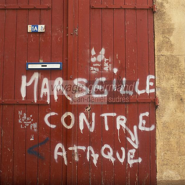 Europe/France/Provence-Alpes-Côte d'Azur/13/Bouches-du-Rhône/Marseille : Le Panier - Graffiti rue des Petits Puits