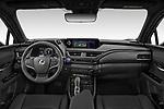 Stock photo of straight dashboard view of 2021 Lexus UX-300e Privilege 5 Door SUV Dashboard
