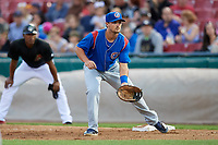 South Bend Cubs first baseman Austin Upshaw (16) during a game against the Kane County Cougars on July 21, 2018 at Northwestern Medicine Field in Geneva, Illinois.  South Bend defeated Kane County 4-2.  (Mike Janes/Four Seam Images)