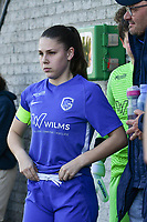 Sien Vandersanden (10) of KRC Genk pictured getting ready before a female soccer game between  Racing Genk Ladies and White Star Woluwe on the 8 th matchday of play off 2 in the 2020 - 2021 season of Belgian Scooore Womens Super League , tuesday 18 th of May 2021  in Genk , Belgium . PHOTO SPORTPIX.BE | SPP | JILL DELSAUX