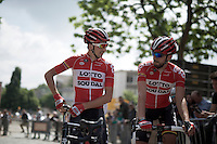 brothers Dennis Van Endert (BEL/Lotto-Soudal) & Jelle Vanendert (BEL/Lotto-Soudal) rarely race together which makes this picture more rare then you'd expect<br /> <br /> Halle-Ingooigem 2015 <br /> start