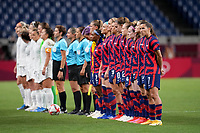 SAITAMA, JAPAN - JULY 24: Starting line up's of New Zealand and USA during a game between New Zealand and USWNT at Saitama Stadium on July 24, 2021 in Saitama, Japan.