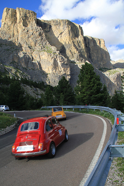 Fiat cars in the Dolomites, northern Italy, Europe. .  John offers private photo tours in Denver, Boulder and throughout Colorado, USA.  Year-round. .  John offers private photo tours in Denver, Boulder and throughout Colorado. Year-round.