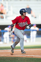 Rainis Silva (20) of the Elizabethton Twins hustles down the first base line against the Kingsport Mets at Hunter Wright Stadium on July 9, 2015 in Kingsport, Tennessee.  The Twins defeated the Mets 9-7 in 11 innings. (Brian Westerholt/Four Seam Images)