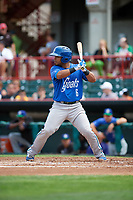Hartford Yard Goats catcher Jan Vazquez (6) at bat during a game against the Erie SeaWolves on August 6, 2017 at UPMC Park in Erie, Pennsylvania.  Erie defeated Hartford 9-5.  (Mike Janes/Four Seam Images)