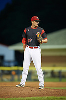 Batavia Muckdogs relief pitcher Brent Wheatley (23) looks in for the sign during a game against the West Virginia Black Bears on June 26, 2017 at Dwyer Stadium in Batavia, New York.  Batavia defeated West Virginia 1-0 in ten innings.  (Mike Janes/Four Seam Images)