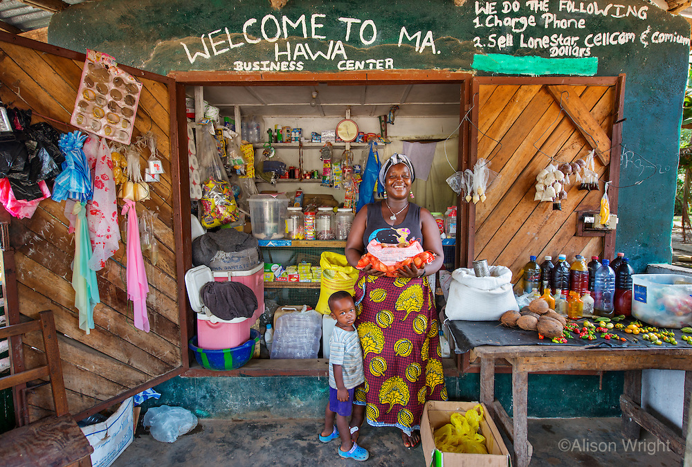 AWright_LIB_000265.jpg<br /> Liberia<br /> Hawa Edwards took a loan from BRAC's microfinance program to build her general store business in Monrovia. She says she makes about $100 per month and uses her profits to support her family.